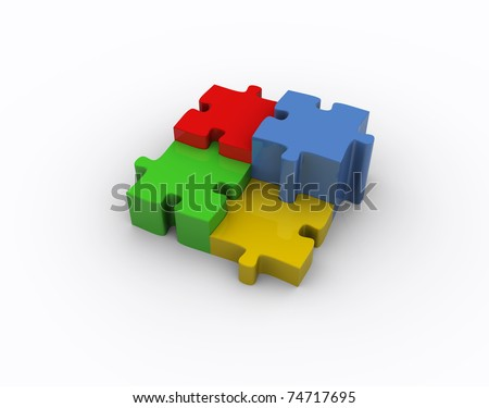 Puzzle illustration: 3d icon isolated on white