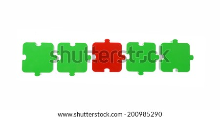 Puzzle in a row - stock photo