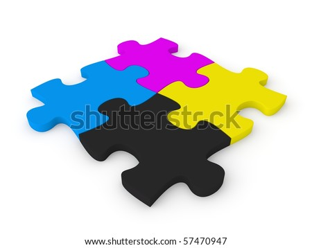 puzzle in CMYK colors - stock photo