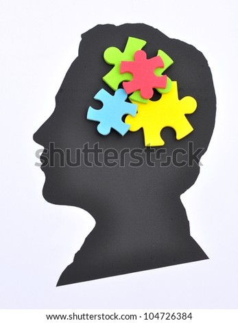Puzzle in mind - stock photo