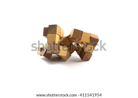 Puzzle in the form of wooden blocks on a white background.  - stock photo