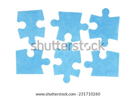 puzzle isolated on white - stock photo