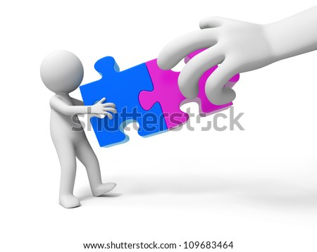 puzzle/jigsaw/A people is holding two jigsaws