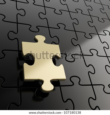 Puzzle jigsaw black background with one shiny golden piece stand out - stock photo