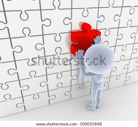 Puzzle, jigsaw matching. Solution, idea concepts. 3d people