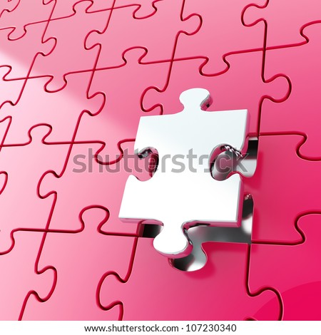 Puzzle jigsaw purple background with one silver metal piece stand out - stock photo