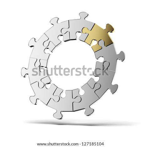Puzzle jigsaw ring - stock photo