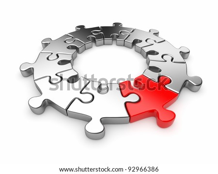 Puzzle jigsaw ring 3D. Innovation concept. Isolated on white background - stock photo