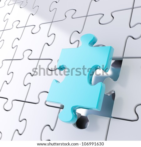 Puzzle jigsaw shiny metal background with one blue piece stand out - stock photo