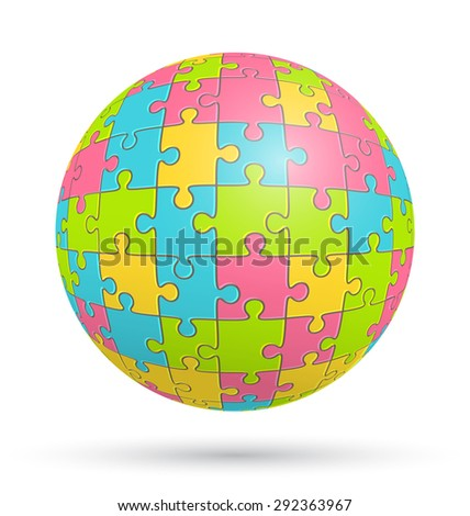 Puzzle Jigsaw Sphere Isolated on White Background