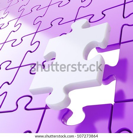 Puzzle jigsaw violet background with one white piece stand out - stock photo