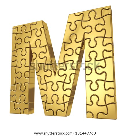 Puzzle letter M in gold metal isolated on  white background.
