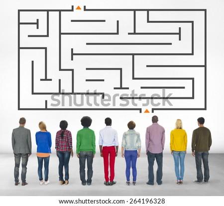 Puzzle Maze Game Concept - stock photo
