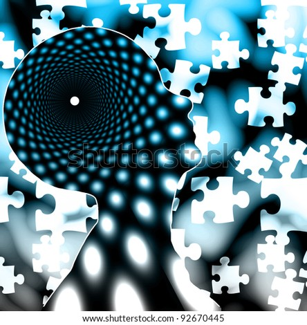 Puzzle mind - stock photo