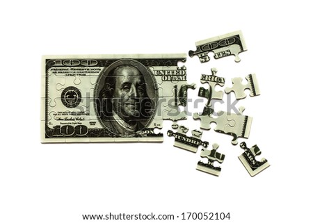 puzzle of dollars banknote