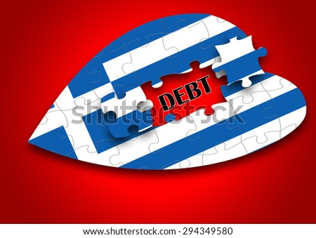 Puzzle Of Greece flag on Love shape with Debt Crisis word