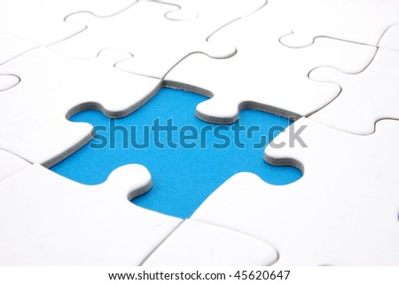 puzzle or jigsaw background with copyspace for text message - stock photo