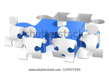 Puzzle People x4 helping out putting piece in place. Blue. - stock photo