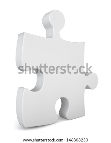 Puzzle piece. 3d illustration on white background  - stock photo