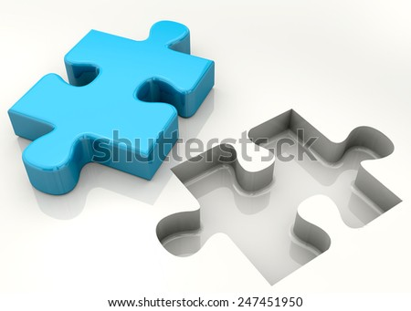 Puzzle piece on white background - stock photo