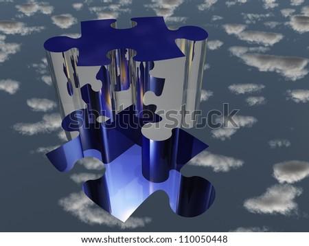 Puzzle piece reflecting sky - stock photo
