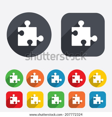 Puzzle piece sign icon. Strategy symbol. Circles and rounded squares 12 buttons.