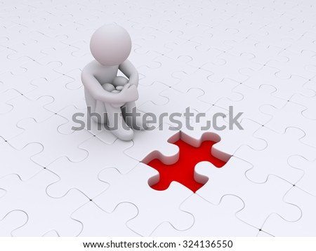 Puzzle pieces but one is missing and person is sitting and waiting for it