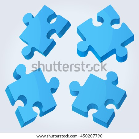 Puzzle pieces 3D on light background. illustration.