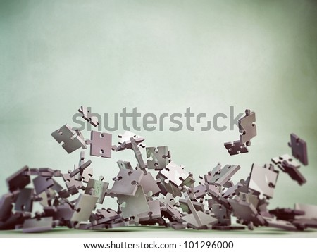 puzzle pieces falling - stock photo