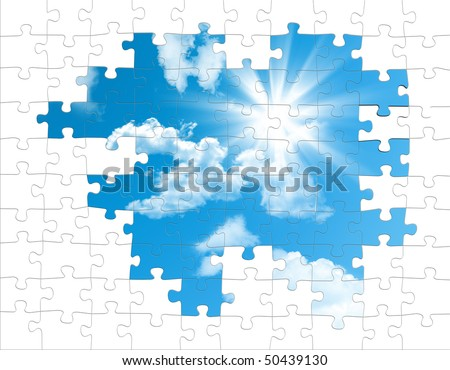 puzzle pieces from the sky - stock photo