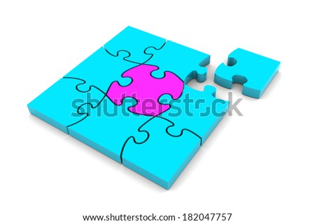 Puzzle pieces illustration isolated on white background