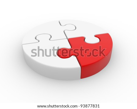 Puzzle pieces in a circle ( jigsaw ).  3d render illustration