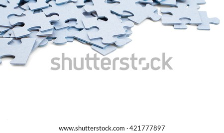 Puzzle pieces isolated on white background, closeup