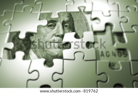 Puzzle pieces on dollar background - 3d render