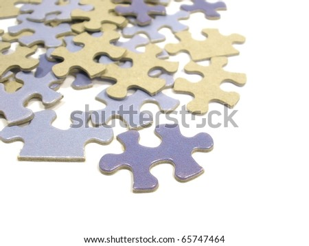 puzzle pieces on the white isolate background - stock photo