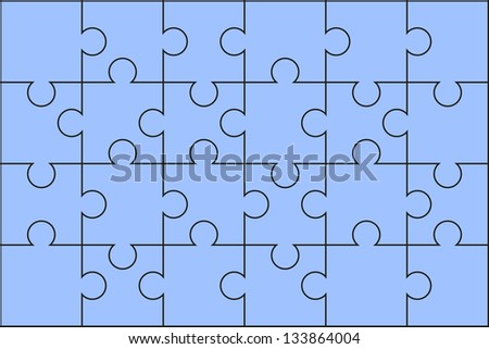 Puzzle pieces ordered. Color blue