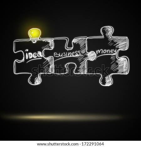 Puzzle pieces with a light - stock photo