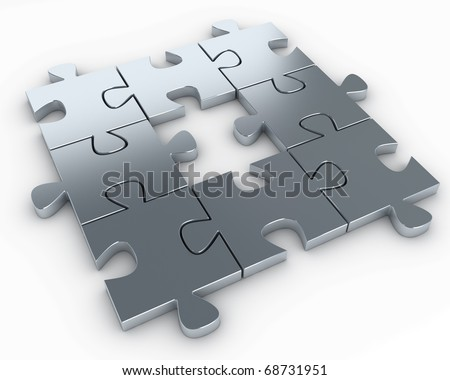 Puzzle pieces, with a missing piece in the middle