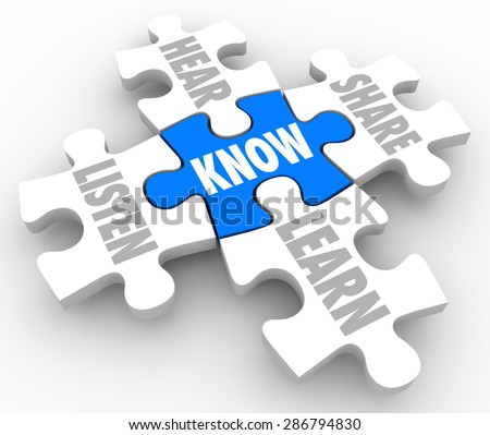 Puzzle pieces with words Listen, Hear, Share, Learn and Know to illustrate the process of understanding and education - stock photo