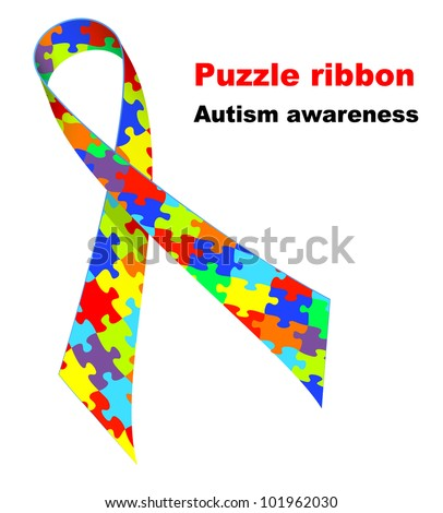 Puzzle ribbon. Autism awareness symbol.   Raster version. - stock photo