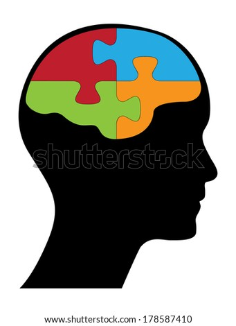 Puzzle shaped brain in human head, creative think different concept illustration. - stock photo