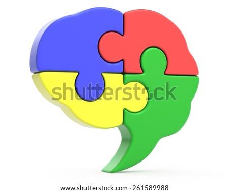 Puzzle shaped human braine design - stock photo
