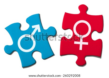 Puzzle Showing Gender Symbol.With Clipping Path. - stock photo