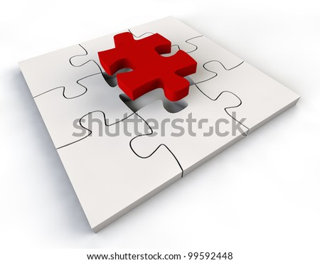 Puzzle solution red color Jigsaw Piece white background - stock photo