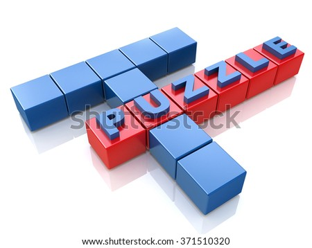Puzzle solving problems in the design of information related to the tasks and the ability to solve problems - stock photo