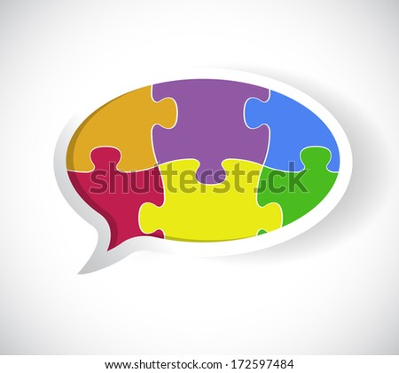 puzzle speech bubble illustration design over a white background
