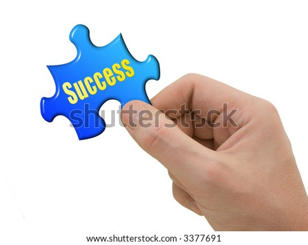 Puzzle Success in hand, isolated on white background - stock photo