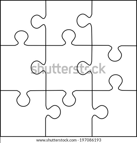 Puzzle Template 9 Pieces