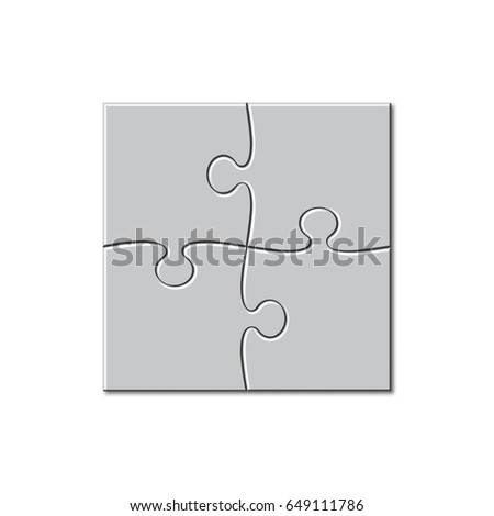 Puzzle Template 2x2 4 Pieces Raster Version