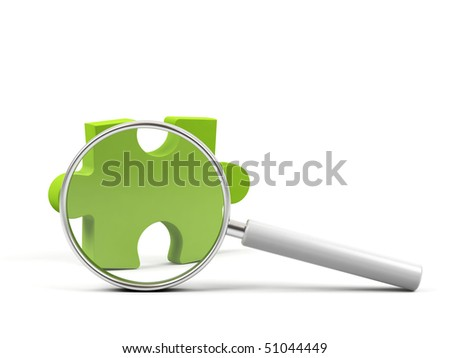 Puzzle under magnifying glass on white background. - stock photo